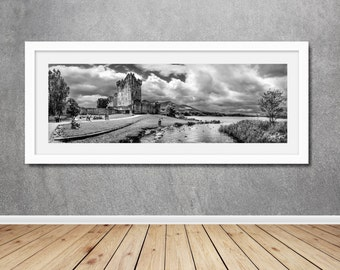 panoramic landscape photography panorama photo print wall art black and white b+w b&w ireland irish castle lake mountains clouds fairytale