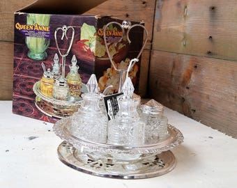Vintage Silver Plated Queen Anne Revolving Cruet Set - Made in England with Original Box