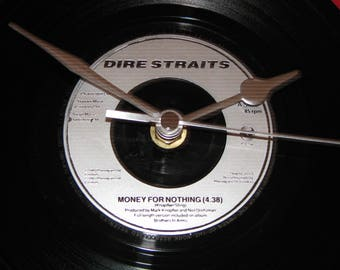 """Dire Straits money for nothing 7"""" vinyl record clock"""