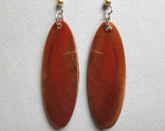 Long dangle Exotic Wood Earrings Norfolk Island Pine repurposed Handcrafted ExoticWoodJewelryAnd