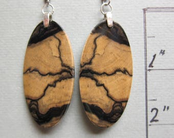 Unique Black White Ebony Drop Dangle Earrings, Exotic Wood Handcrafted ExoticwoodJewelryAnd