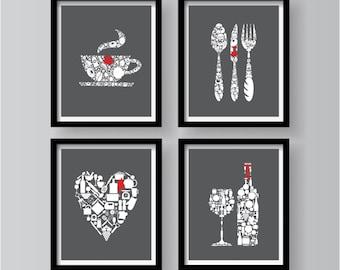 SET OF 4   Unique Lovely Kitchen Decor Collection, Dark Grey Red White Kitchen  Wall