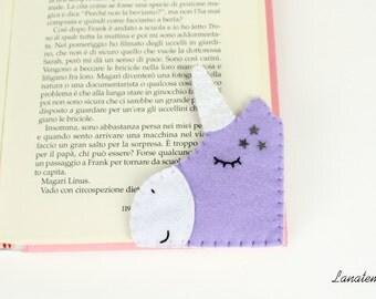 Bookmark unicorn lilac with white glitter horn, felt corner bookmark, gift for sister, friend, reading, book lover, unicorn lover, handmade