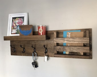 Entryway Organizer Key Hooks Coat Rack Catch All Leash Holder Rustic Modern  Unique