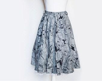 90s Petticoat Skirt   Vintage Skirt   Midi Skirt   Grey Pleat Skirt   High Waist Skirt   90s Grey Skirt   Cotton Skirt - Size Small Medium