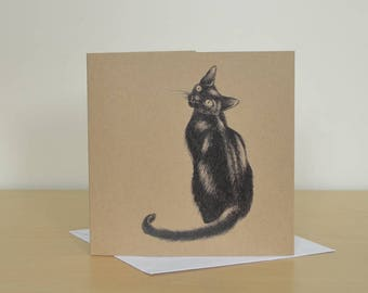 Black cat greetings cards. Recycled blank card. Lucky black cat illustration. Recycled greetings card with cat. Cat artwork on blank card.