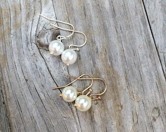 Simple Pearl Earrings, Bridesmaids Earrings, Earrings, Wedding Earrings, Bridal gifts, Wedding Gift, Earrings, Gifts for her