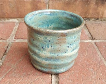 Rocks Glass Small Tumbler Wheel Thrown Stoneware Stemless Wine Pottery Cup Green Glaze on Dark Brown Clay