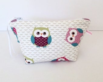 Make Up Bag, Owls & Purple Dotty Cosmetic Bag, Make Up Bag, Pouch, Hair Accessories Bag, Handbag Tidy, Mobile Wires Bag, Gift for Her