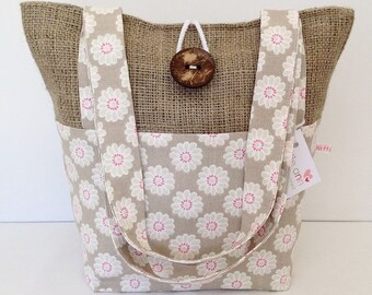 Taupe Daisy & Hessian Tote Bag, Small Lunch Bag, Small Tote Bag