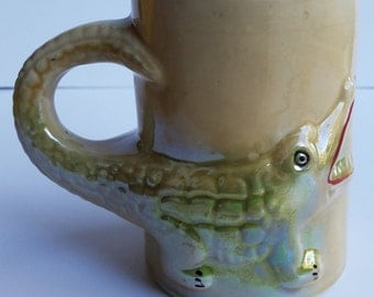 Alligator or Crocodile Glossy/irridescent Ceramic Mug Made in Brasil
