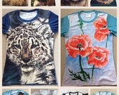 ANIMAL PRINT T SHIRTS Flower Print T Shirt Skull Print T Shirts Ladies Mens Art Tops Clothing For Her For Him All Over Print Art