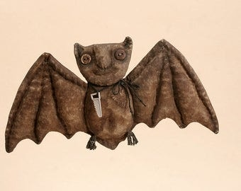 OOAK Halloween Rag Batman Primitive animals Halloween Folk art Textile Decoration Doll Hanging Decor