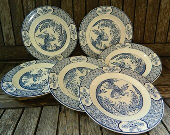 Vintage Woods and Sons Yuan Twin Birds Tea/Side/Bread Plates x 6