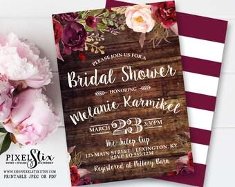 Country Bridal Shower Invitation, Floral Wood Bridal Shower Invite, Vintage Rose and Peony, Boho Bridal Shower, Marsala Cranberry Burgundy