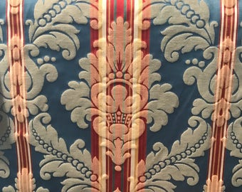 Blue and Red Damask - Upholstery Fabric by The Yard