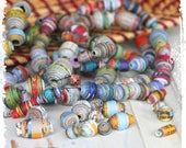 Multicolor paper beads, Eco-friendly, Destash, Craft supplies, Boho chic components, Jewelry supplies, Choose your mix