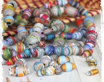 Multicolor paper beads, Eco-friendly, Destash, Craft supplies, Boho chic components, Jewelry supplies, DIY