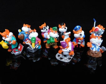 Vintage Toys, Collectible, Foxes, Cops & Robbers, Fancy Fuxies, Complete Series of 10 Figures, KINDER Surprise Figurines