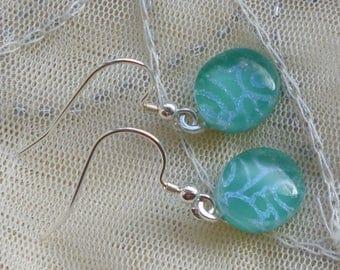 Teal Green Fused Glass Earrings.  Teal Green Dichroic Glass Earrings.  Green Earrings.
