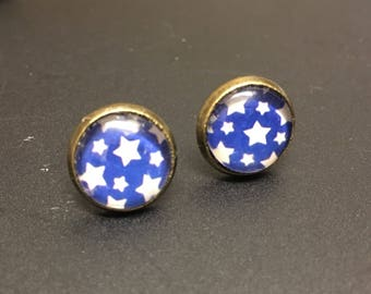 Funky blue star starry shabby chic stud earrings