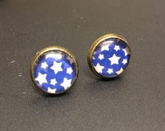 Funky blue star starry shabby chic stud earrings