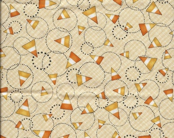 New Halloween Beige with Candy Corn 100% cotton fabric by the Fat Quarter