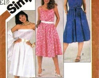 Simplicity 5498 Summertime Strapless, or Drawstring Neckline Dresses & Shawl /  1982 SZ14 UNCUT