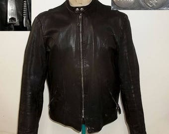Vintage ESPRIT cafe racer motorcycle leather jacket black color boyfriend size 40 clean good condition neat highly presentable