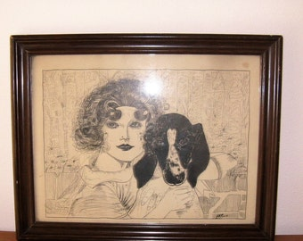 Vintage framed Pen and Ink Drawing, Flapper Girl with Dog, Art Deco Decor, Signed Artwork, FA Russell