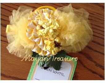 Yellow Sash. Flower Sash. Prop. Baby Sash. Maternity Sash.