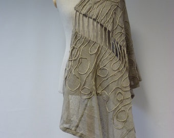 Artsy Art Deco linen shawl. Perfect for gift.