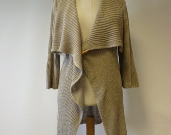 Exceptional knitted natural linen cardigan, L size.