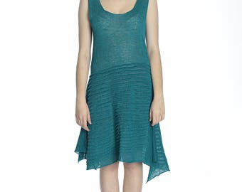 Special price. Summer transparent cyan colour linen dress, M/L size.