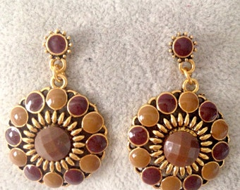 Earrings brown circle