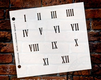 Clock Numerals Stencil by StudioR12 - Springfield Roman Numbers Elements - Select Size - STCL185