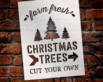 Farm Fresh Christmas Trees - Word Art Stencil - Select Size - STCL1539 - by StudioR12