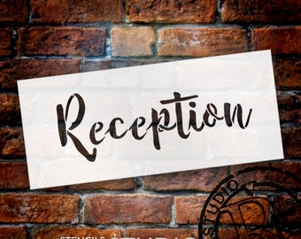 Wedding Sign Stencil - Reception - Rustic Script - Select Size- STCL1606 - by StudioR12