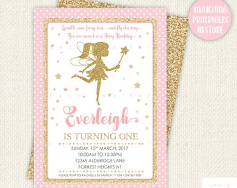 Fairy Birthday Invitation, First Birthday Invitation, pink and gold first birthday, 1st birthday, printable, personalised, personalized
