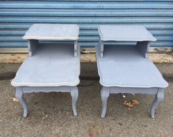 Pair of French Bi-Level end tables