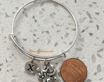 Karate Initial Bangle, Tae-Kwon Do, Bangle Bracelet, Kendo Jujutsu Jewelry,  Martial Arts, Karate Jewelry, Tae-Kwon Do Bangle
