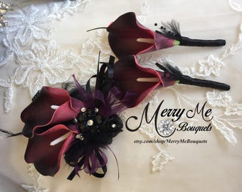 Burgundy Corsage - Burgundy Plum Corsage - Burgundy Wrist Corsage - Burgundy Prom Corsage - Gatsby Wrist Corsage