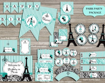 Paris Eiffel Party Package,Eiffel Birthday Party,Paris Teal, turquoise and black,Banner,sign  PRINTABLE DIY Instant Download
