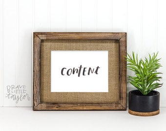 CONTENT | ONE WORD art | 5x7 brush lettering | One little word | simple modern word art | R5-Cont