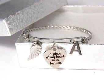 A Piece of My Heart is in Heaven, Angel Wing, and Initial Charm Stainless Steel Bangle.