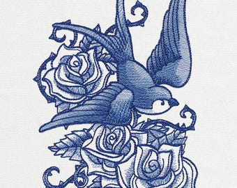 DELFT BLUE SWALLOW Tattoo Art Shaded Roses Machine Embroidered Quilt Square, Art Panel