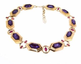 Yves Saint Laurent Necklace Purple Crystal YSL Statement