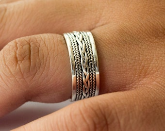 Sterling Silver Ring for Women or Men, Sterling Silver Ring Band, Unique Silver Ring, Unisex Band, Unisex Ring, Celtic Braided Band