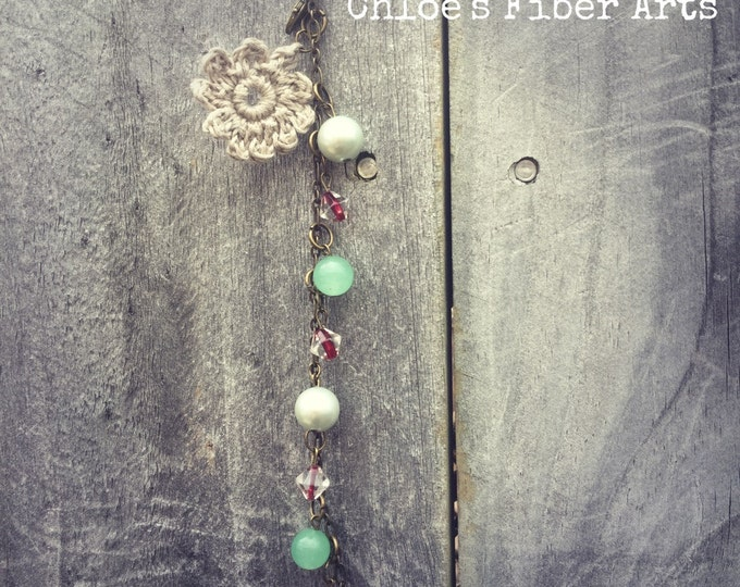 Gypsy Life Crochet Bracelet, crochet bracelet, crochet flower bracelet, beaded bracelet, bracelet, handmade bracelet