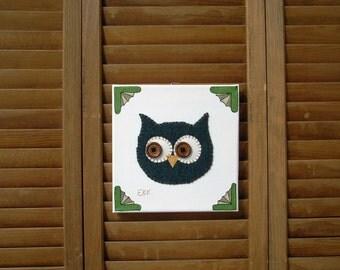 Owl Head #4 Fabric Wall Art